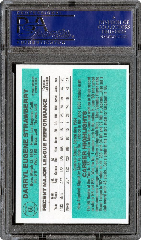 1984 Donruss Darryl Strawberry Psa Cardfacts