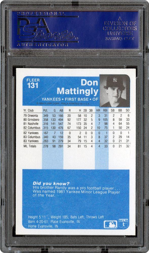 1984 Fleer Don Mattingly Psa Cardfacts