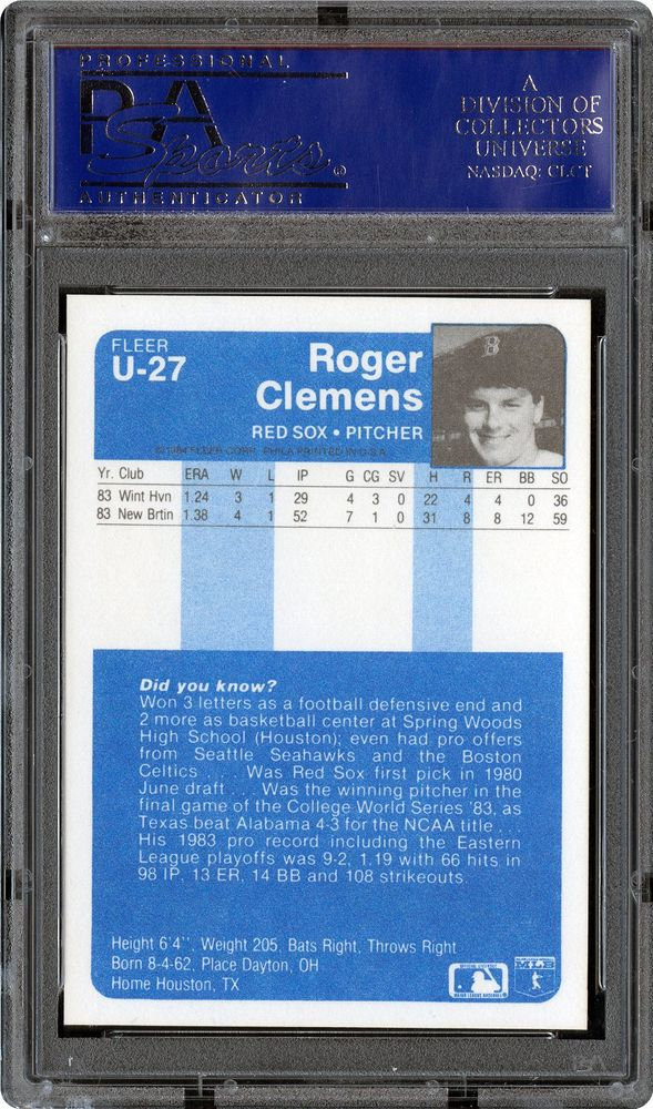 1984 Fleer Update Roger Clemens Psa Cardfacts