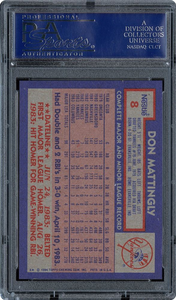 1984 Topps Nestle Don Mattingly Psa Cardfacts