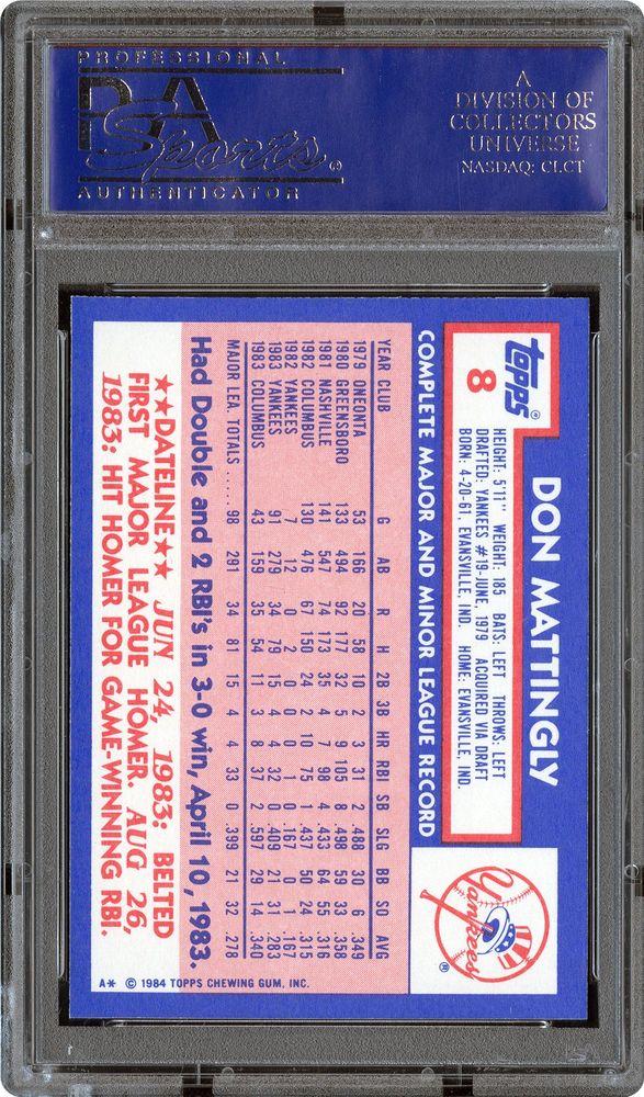 1984 Topps Tiffany Don Mattingly Psa Cardfacts