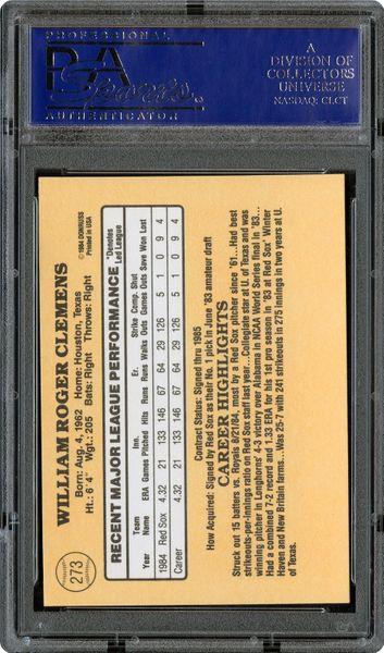 1985 Donruss Roger Clemens Psa Cardfacts