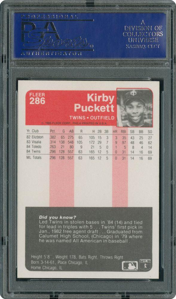 1985 Fleer Kirby Puckett Psa Cardfacts