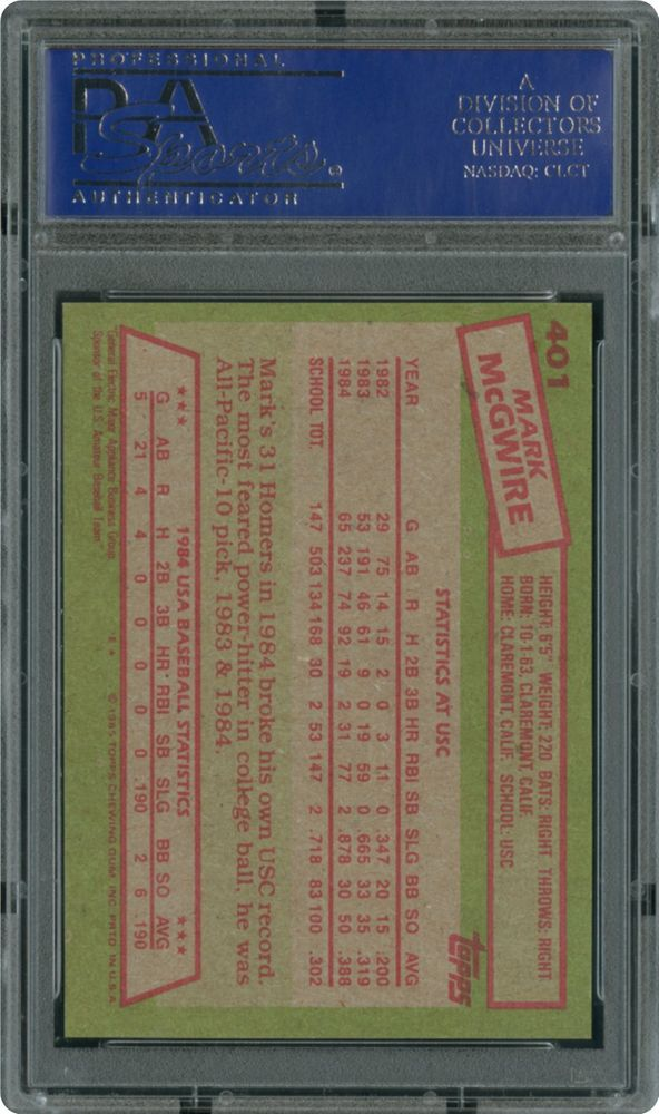 1985 Topps Mark Mcgwire 1984 Usa Baseball Team Psa Cardfacts