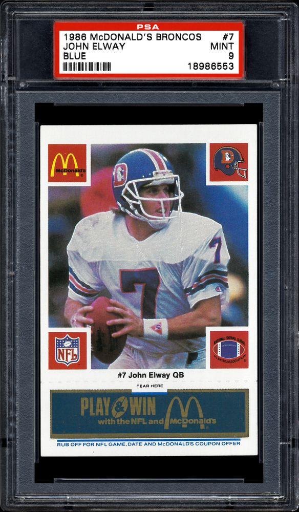 1986 Mcdonald S Broncos John Elway Blue Psa Cardfacts