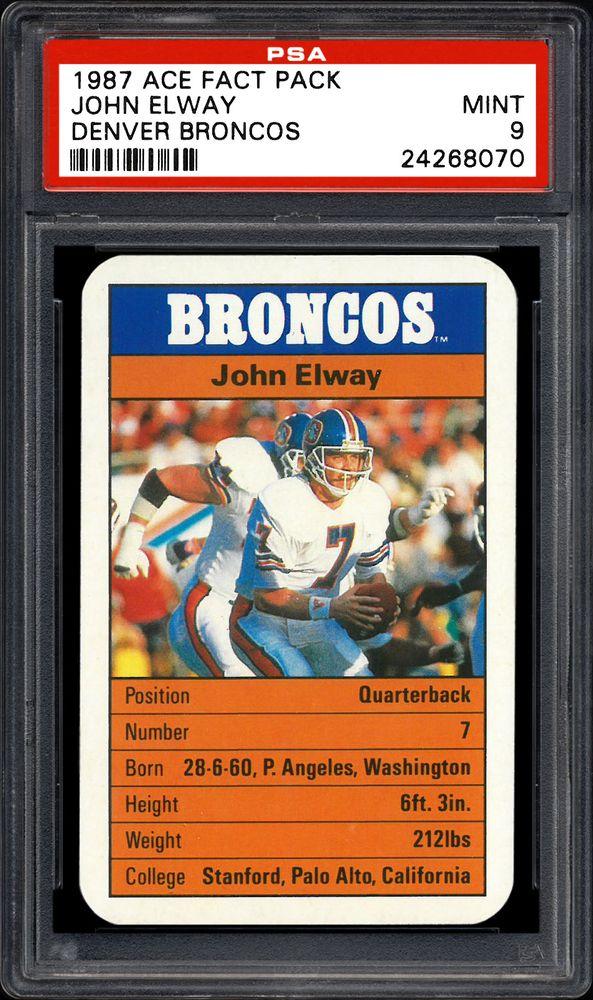 1987 Ace Fact Pack Denver Broncos John Elway Denver Broncos
