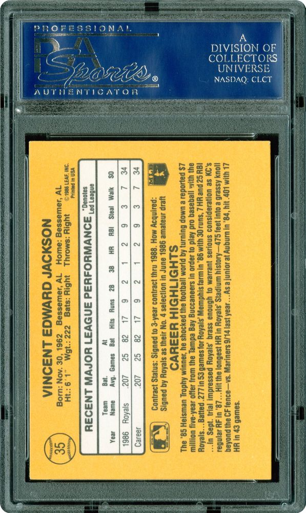 1987 Donruss Bo Jackson Psa Cardfacts