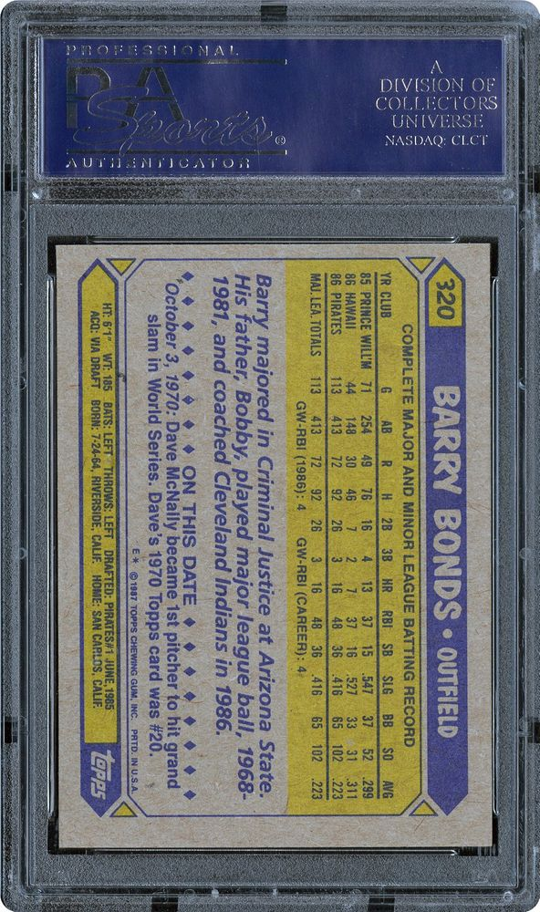 1987 Topps Barry Bonds Psa Cardfacts