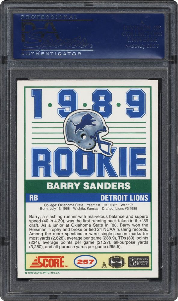 1989 Score Barry Sanders Psa Cardfacts