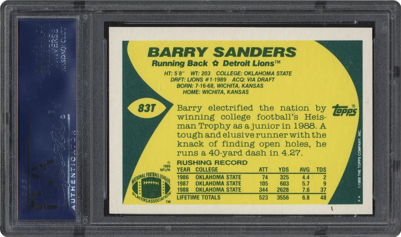 1989 Topps Traded Barry Sanders Psa Cardfacts