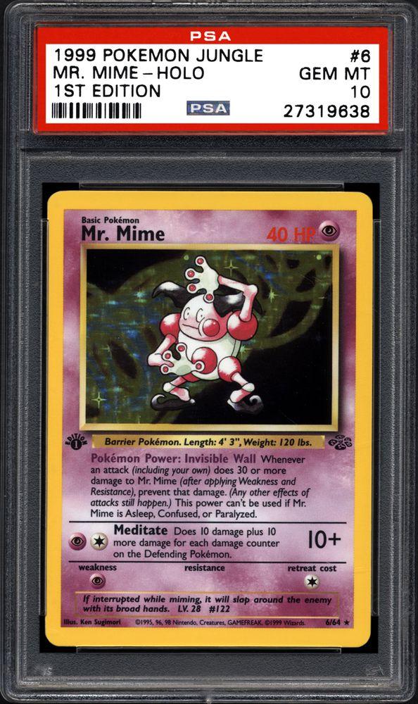 1x Pokémon Unlimited Jungle Mr Mime Holo 6//64 PSA 8 NM-M