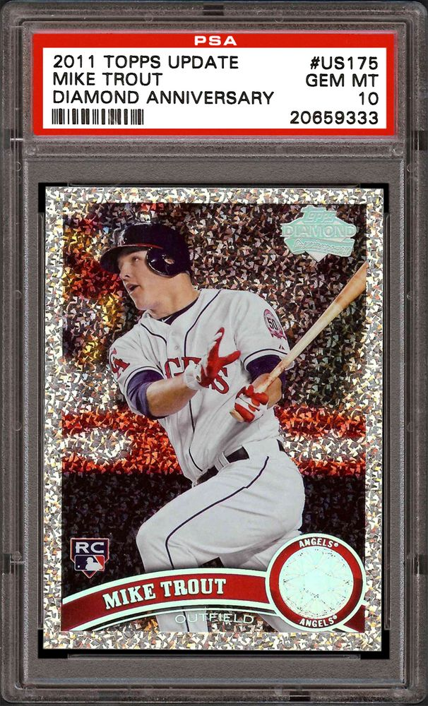 2011 Topps Update Mike Trout Diamond Anniversary Psa