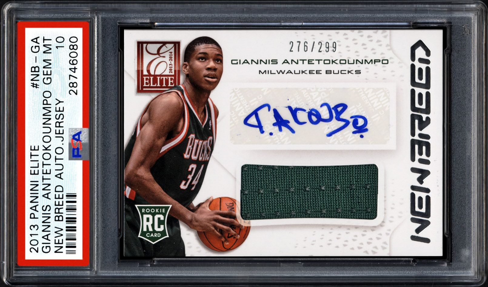 quality design 7066d 4d38a 2013 Panini Elite New Breed Autograph Jersey Giannis ...